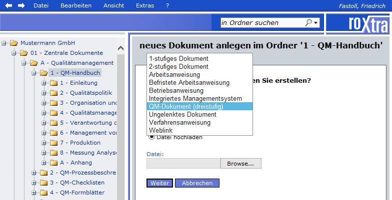 Dokumentenlenkung mit roXtra über spezifische Dokumententypen