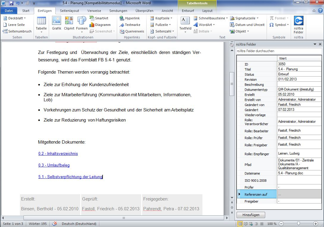 Referenzen als Hyperlinks in Word