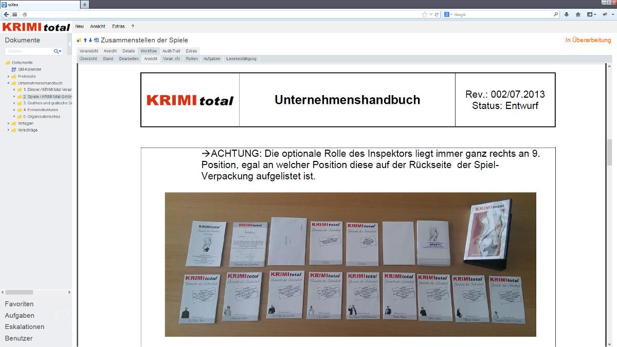 Wissensmanagement und Prozessmanagement mit der Software roXtra bei KRIMI total